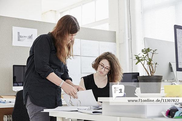Ein modernes Büro. Zwei Frauen  eine stehend und eine sitzend  besprechen Papierkram.
