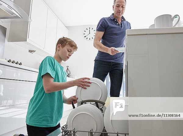 A family home. A man and a boy putting plates in the dishwasher in a kitchen.