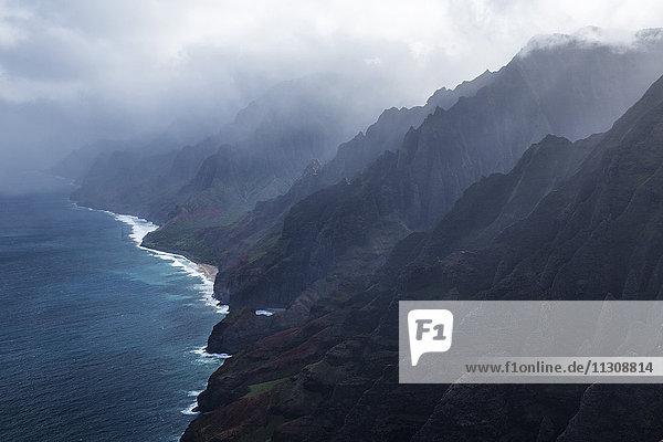 Kauai  Well Pali Coast  Well Pali  coast  Kauai  USA  Hawaii  America  coast  aerial