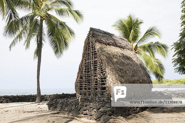 Big Island  Kaloko Honokohau  National  Historical park  Big Island  USA  Hawaii  America  straw hut