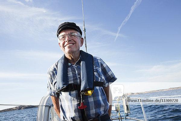 Senior man on boat