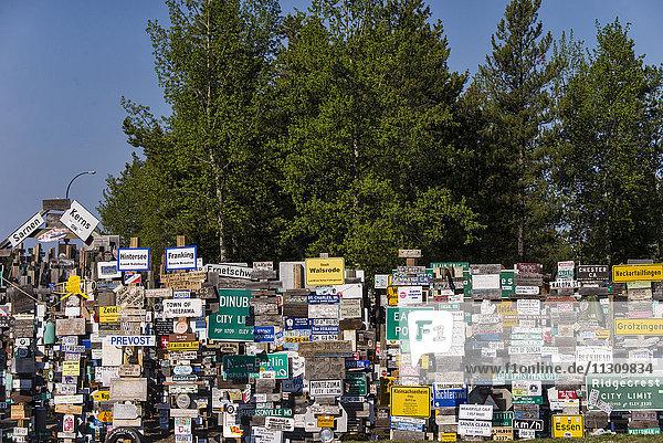 signpost forest  Watson lake  Yukon  Canada  Alaska  USA  signpost