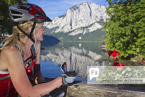Bike  bicycle  scenery  Salzburg  Austria  helmet  bike  summer  lake  Aussee  sport  rest  fun  helmet  joy  woman
