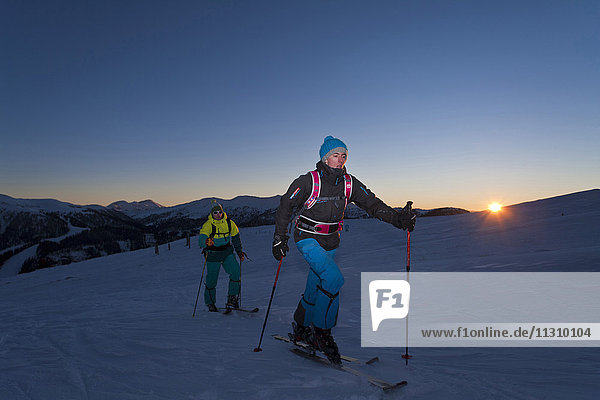 Ski tour  man  winter  Austria  sport  ski  sundown  men