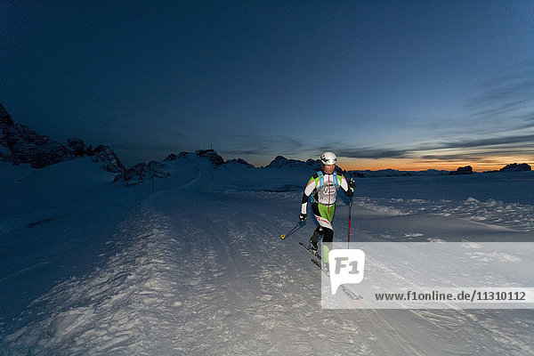 Ski tour  man  winter  Austria  sport  ski  sundown  outdoor