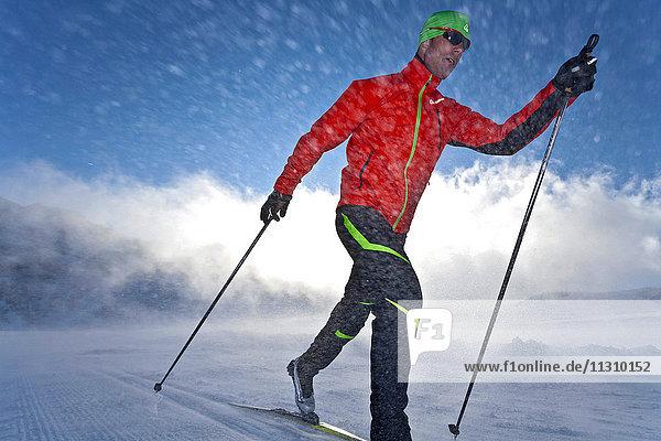 Cross-country skiing  Skating  dynamical  sport  Austria  Dachstein  ski  sport man