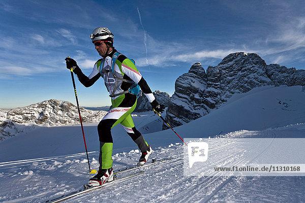 Ski tour  man  winter  sport  Dachstein  Styria  Austria