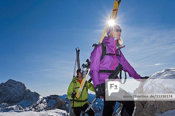 Ski tour  man  woman  couple  winter  sport  Dachstein  Styria  Austria  summit  peak  sun  mountain Ski tour, man, woman, couple, winter, sport, Dachstein, Styria, Austria, summit, peak, sun, mountain