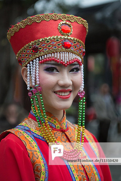 China  Guandong Province  Shenzen City  Splendid China Park  girl in traditional costume