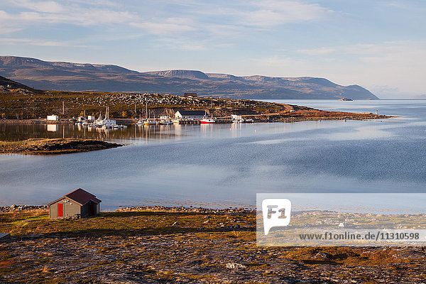 Mountains  village  Europe  fjord  autumn  autumn colors  scenery  landscape  Lapland  sea  Norway  Scandinavia  Torhop  Varangerfjord  water