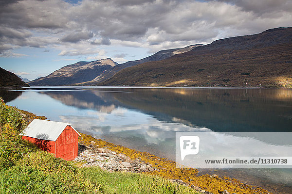 Mountains  Europe  fjord  autumn  autumn colors  scenery  landscape  Lapland  Lyngenfjord  sea  Norway  Scandinavia  reflection  water
