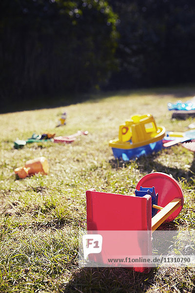 Toys lying in grass