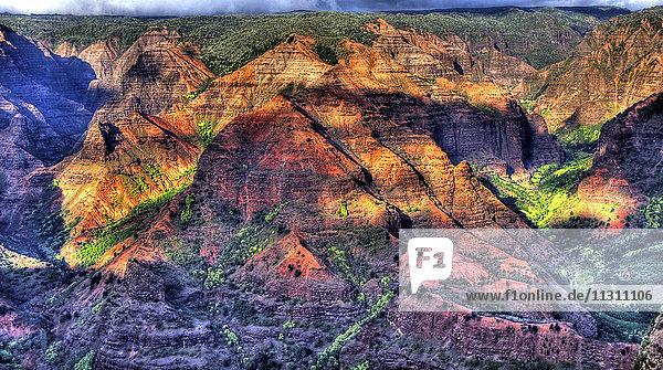 Hawaii  Waimea canyon  Kauai  gulch  erosion  Colorful  mountains  scenery  landscape  valley  mountains  USA  erosion