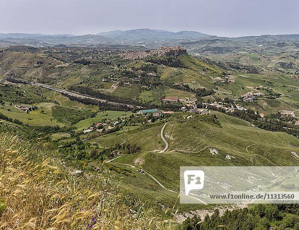 View towards the mountain village Calascibetta