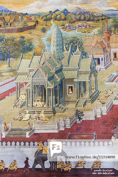 Thailand  Bangkok  Grand Palace  Wat Phra Kaeo  The Galleries  Wall Paintings Depicting Scenes from the Ramakien