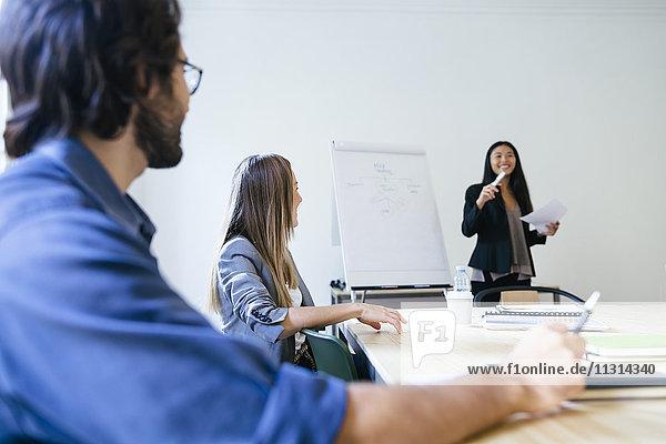 Geschäftsleute mit einer Teambesprechung im Büro