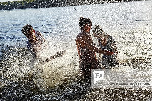 Verspielte Freunde beim Planschen im See