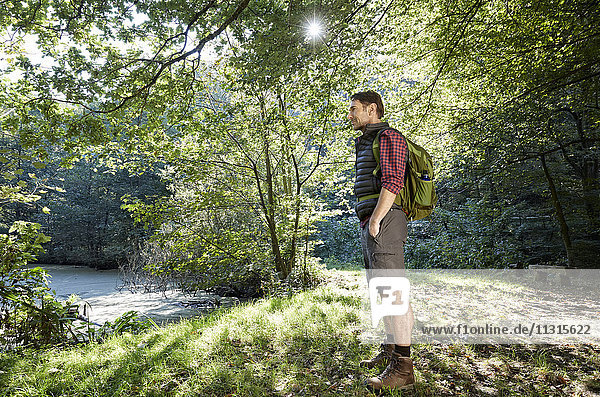 Hiker in forest looking at landscape with hands in pockets