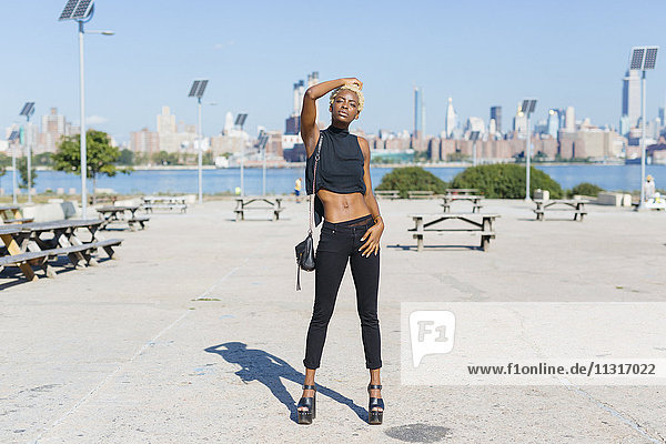 USA  New York City  Brooklyn  confident young woman