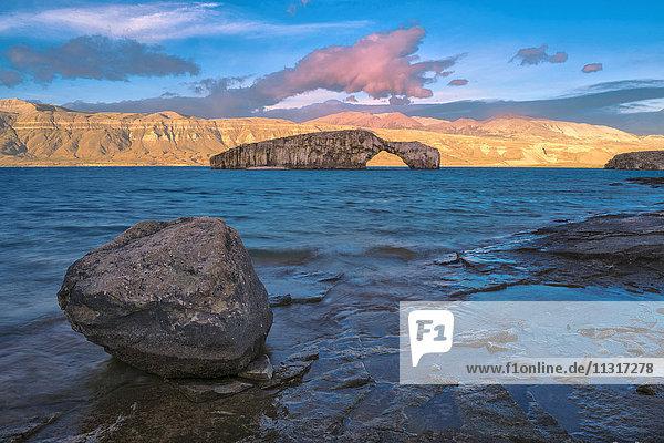 South America  Patagonia  Argentina  Lago Posadas  Rock Arch at Lago Puyrredon