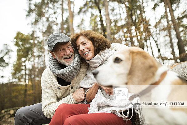Glückliches Seniorenpaar mit Hund in der Natur