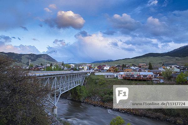 USA  Rocky Mountains  Montana  Gardiner  bridge over Gardiner river