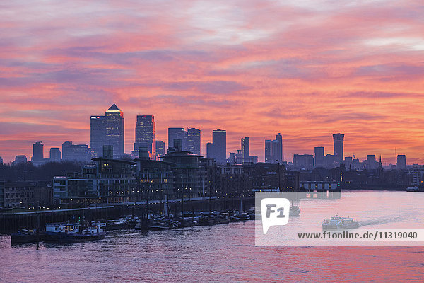 England  London  Sunrise Over Docklands and Canary Wharf