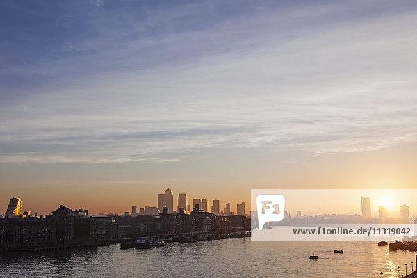 England  London  Sunrise Over Docklands and Canary Wharf