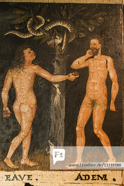 England  London  Kensington  Victoria and Albert Museum aka V&A  Painted Oak Panels depicting Adam and Eve and Joshua date 1600