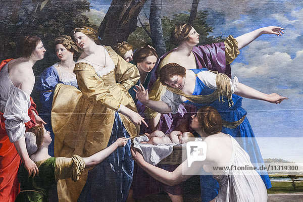 England  London  Trafalgar Square  National Gallery  Painting of The Finding of Moses by Orazio Gentileschi dated 1630