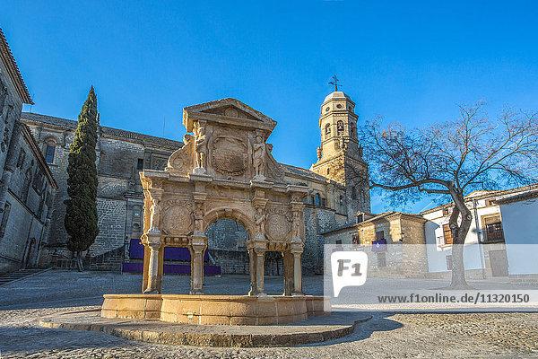 Spain  Jaen province  Baeza City  world heritage  Santa Maria Fountain  Baeza Cathedral
