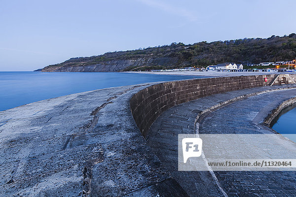 England  Dorset  Lyme Regis  The Cobb and Harbour at Dawn