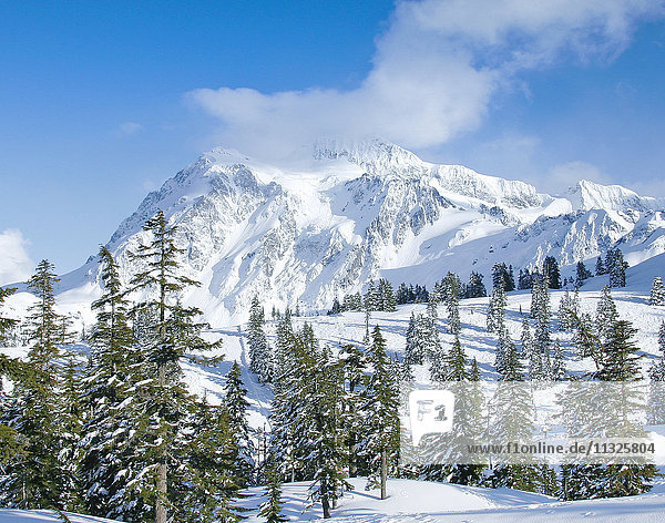 Mount Shuksan in winter in Washington State