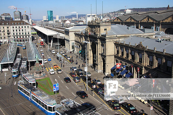 Central Station and traffic in Zurich