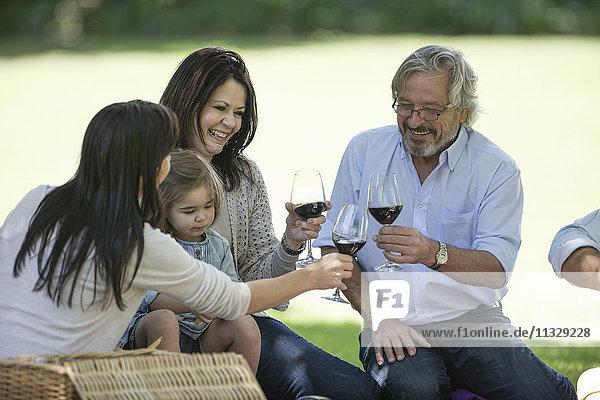 Glückliche Großfamilie beim Picknick und Röstung von Rotweingläsern