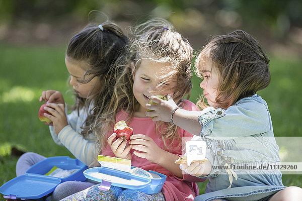 Girls in garden sharing lunch