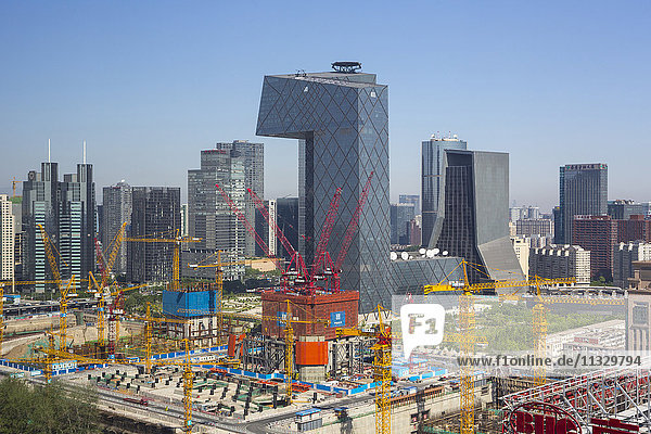 skyline of Guomao District in Beijing