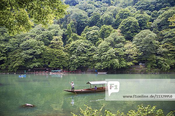 Arashiyama Mountain and Oi River in Japan
