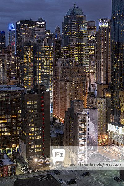 Manhattan skyline in New York City by night