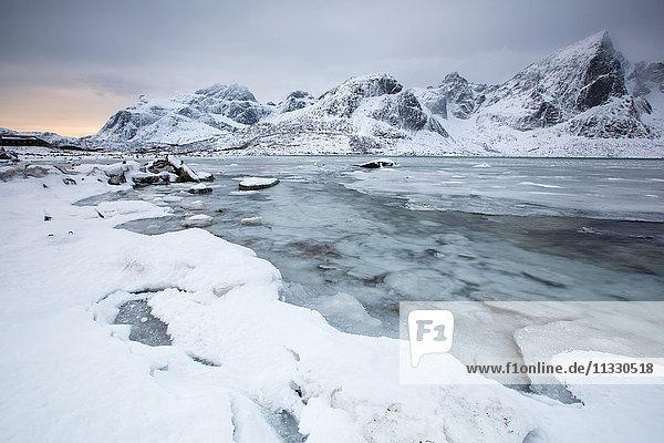 landscape in winter in Lofoten  Norway