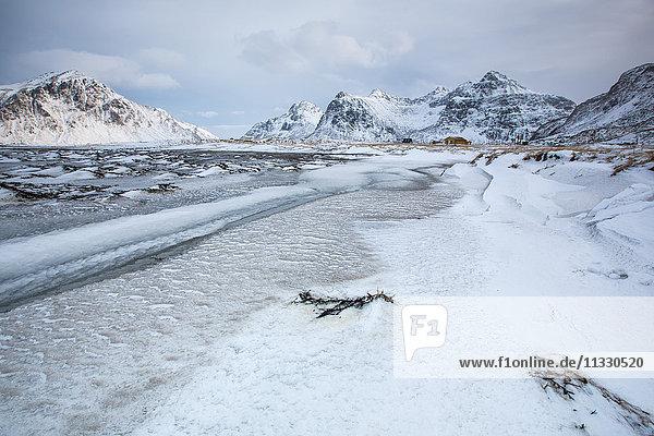 Flakstad in winter in Lofoten  Norway