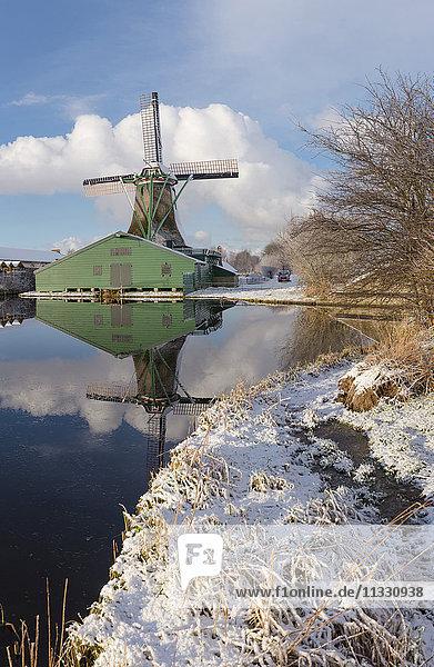 windmill in Westzaan in winter  Holland