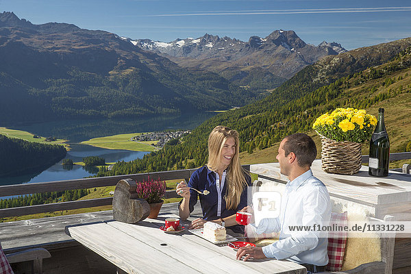 Coffee and cake in mountain restaurant Paradiso near Saint Moritz