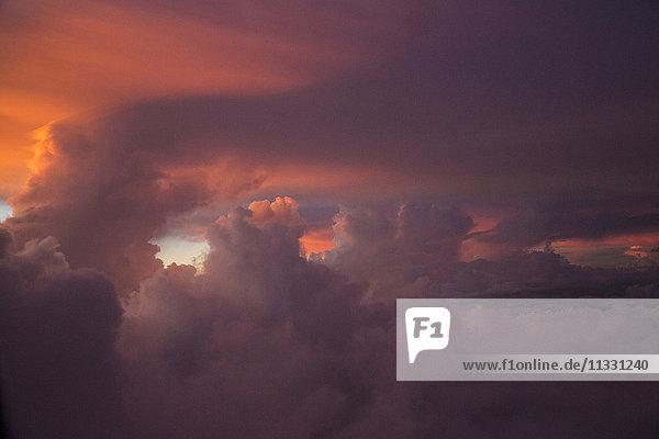 Clouds and orange sky
