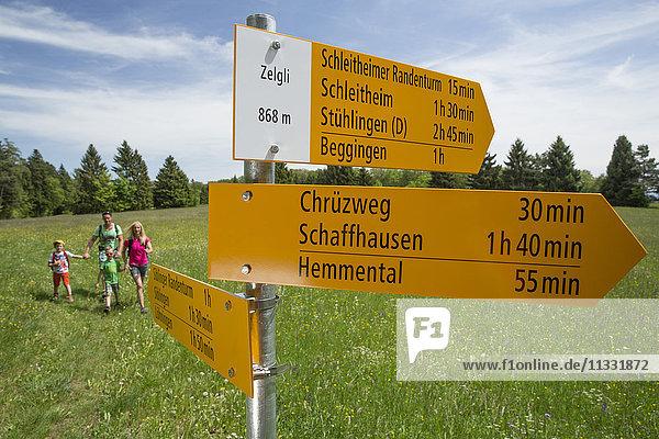 Family Hiking near Mösli in Hemmental in the canton Schaffhausen  Switzerland