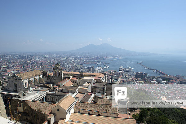Italy  Campania  Naples  view of San Martino Certosa and cityscape from Castel Sant'Elmo