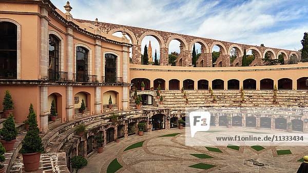 Mexico  Hotel Quinto Real in Zacatecas and view over the old amphiteatre  the Fatima church and the old aqueduct