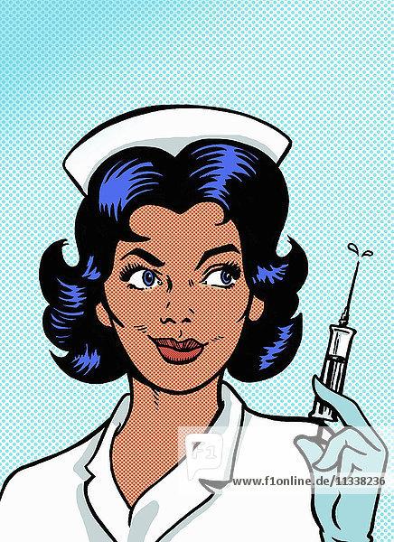 Krankenschwester hält eine Spritze