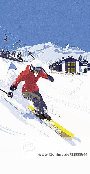 Frau fährt eine Skipiste in einem Skigebiet hinunter