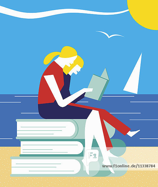 Zwei Mädchen sitzen auf Bücherstapel und genießen das Lesen im Urlaub